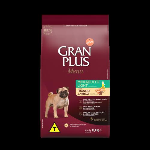 00313 Gran Plus Menu Cão Light Mini Frango e Arroz 10,1kg FRENTE
