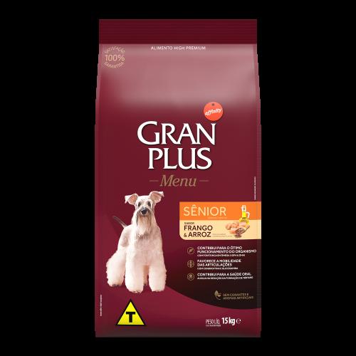 00322 Gran Plus Menu Cão Sênior Médio e Grande Frango e Arroz 15kg FRENTE