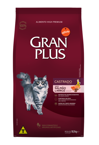 GP Gato Adulto Castrado Sabor Salmão e Arroz 10,1kg FRONTAL