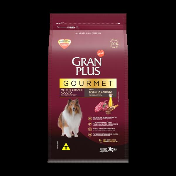 GP Gourmet Cão Adulto Médio e Grande Sabor Ovelha e Arroz 3kg FRONTAL