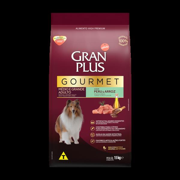 GP Gourmet Cão Adulto Médio e Grande Sabor Peru e Arroz 15kg FRONTAL