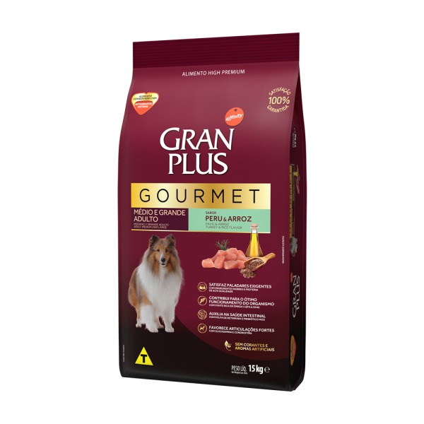 GP Gourmet Cão Adulto Médio e Grande Sabor Peru e Arroz 15kg LATERAL