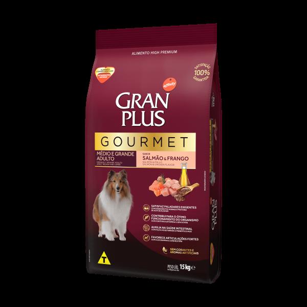 GP Gourmet Cão Adulto Médio e Grande Sabor Salmão e Frango 15kg LATERAL