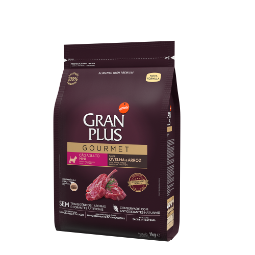 GP Gourmet Cão Adulto Mini Ovelha e Arroz 1kg LATERAL