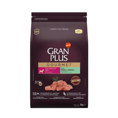 GP Gourmet Cão Adulto Mini Peru e Arroz 3kg FRONTAL