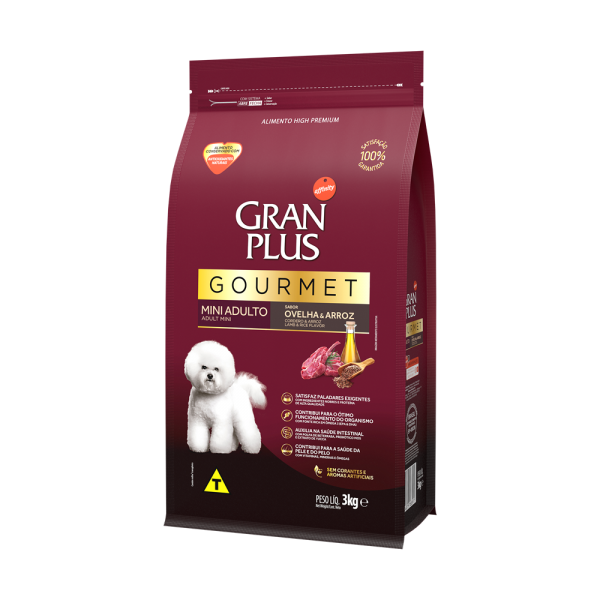GP Gourmet Cão Adulto Mini e Pequeno Sabor Ovelha e Arroz 3kg LATERAL