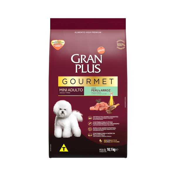 GP Gourmet Cão Adulto Mini e Pequeno Sabor Peru e Arroz 10,1kg FRONTAL
