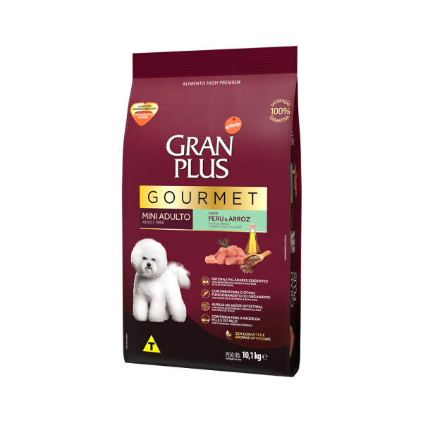 GP Gourmet Cão Adulto Mini e Pequeno Sabor Peru e Arroz 10,1kg LATERAL
