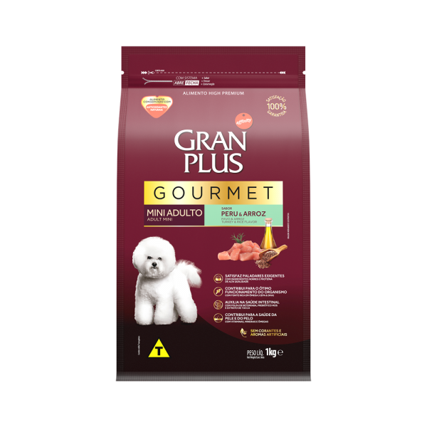 GP Gourmet Cão Adulto Mini e Pequeno Sabor Peru e Arroz 1kg FRONTAL