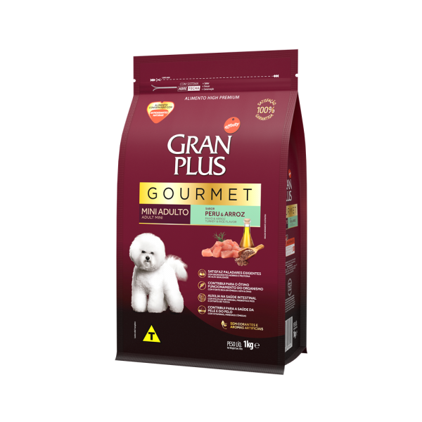 GP Gourmet Cão Adulto Mini e Pequeno Sabor Peru e Arroz 1kg LATERAL