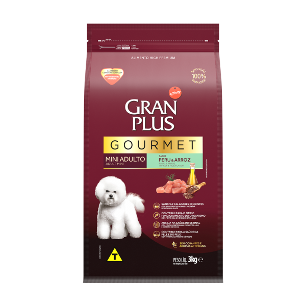 GP Gourmet Cão Adulto Mini e Pequeno Sabor Peru e Arroz 3kg FRONTAL