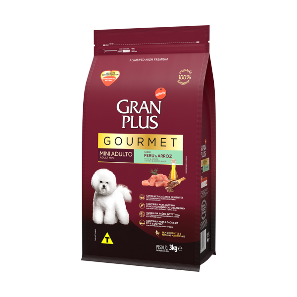 GP Gourmet Cão Adulto Mini e Pequeno Sabor Peru e Arroz 3kg LATERAL