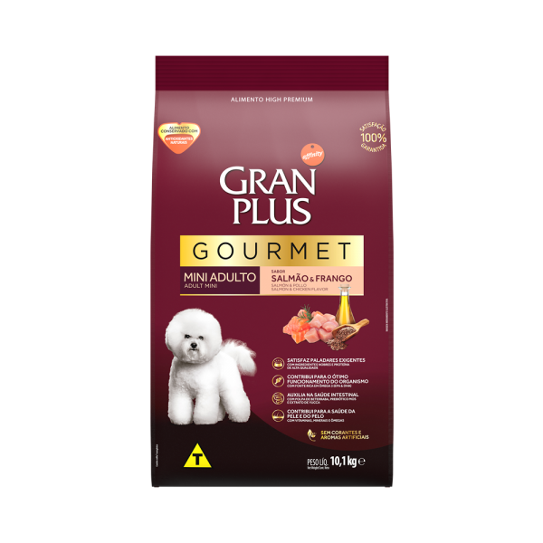 GP Gourmet Cão Adulto Mini e Pequeno Sabor Salmão e Frango 10,1kg FRONTAL