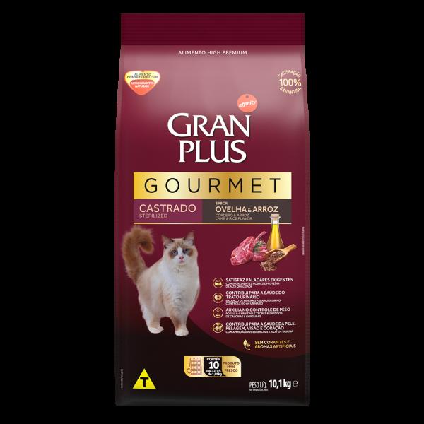 GP Gourmet Gato Adulto Castrado Sabor Ovelha e Arroz 10x1,01kg FRONTAL