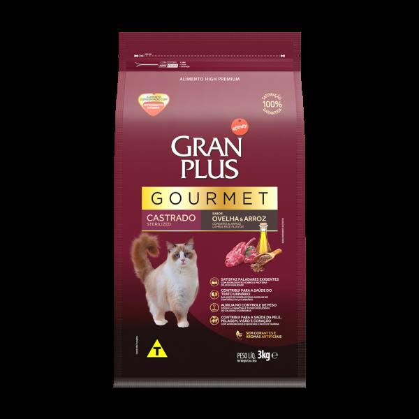 GP Gourmet Gato Adulto Castrado Sabor Ovelha e Arroz 3kg FRONTAL