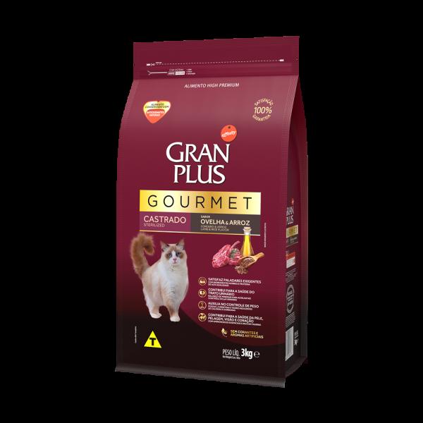 GP Gourmet Gato Adulto Castrado Sabor Ovelha e Arroz 3kg LATERAL