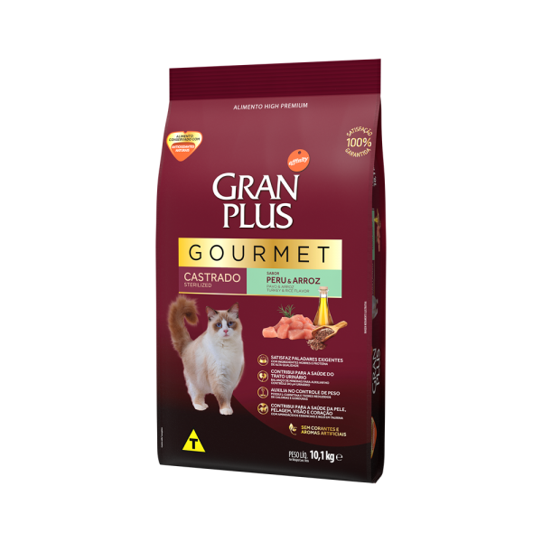 GP Gourmet Gato Adulto Castrado Sabor Peru e Arroz 10,1kg LATERAL