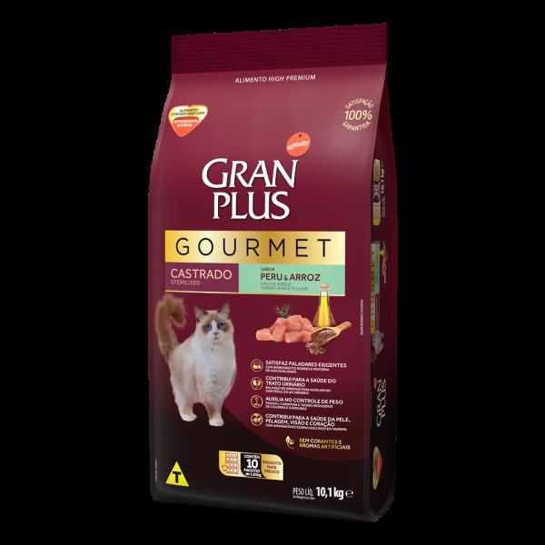 GP Gourmet Gato Adulto Castrado Sabor Peru e Arroz 10x1,01kg LATERAL