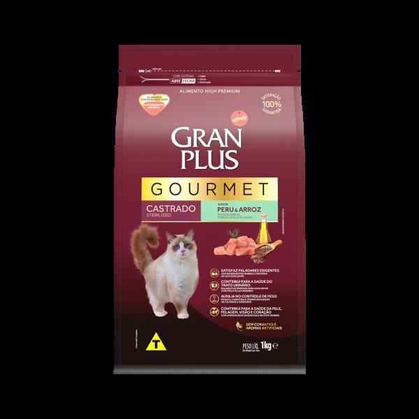 GP Gourmet Gato Adulto Castrado Sabor Peru e Arroz 1kg FRONTAL