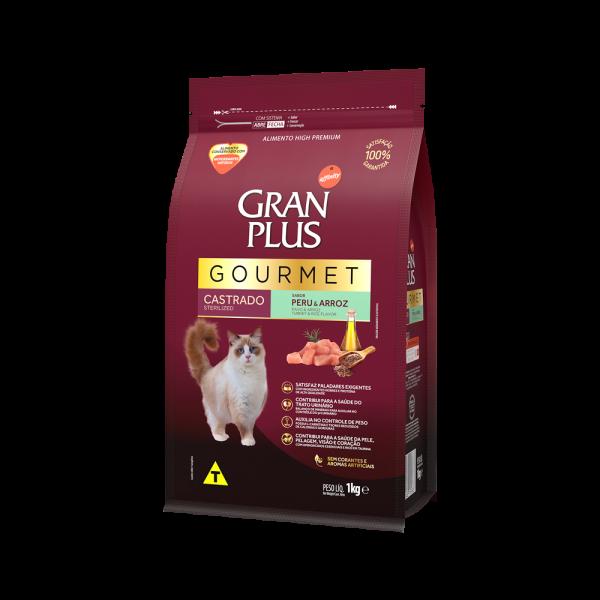 GP Gourmet Gato Adulto Castrado Sabor Peru e Arroz 1kg LATERAL