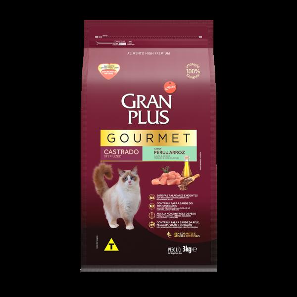GP Gourmet Gato Adulto Castrado Sabor Peru e Arroz 3kg FRONTAL