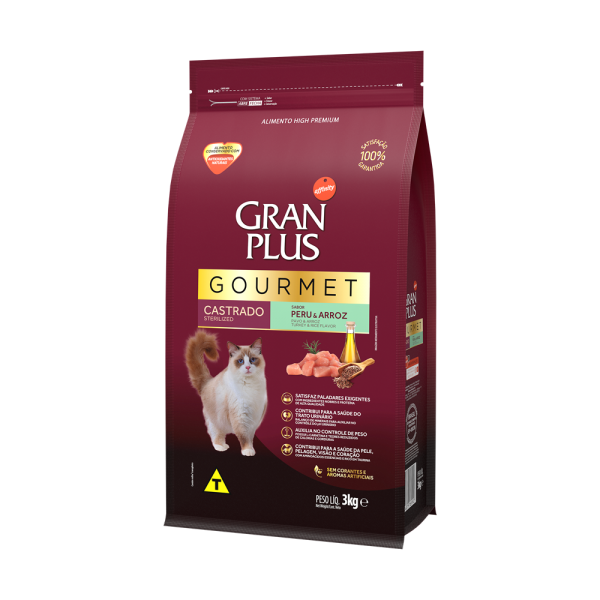 GP Gourmet Gato Adulto Castrado Sabor Peru e Arroz 3kg LATERAL