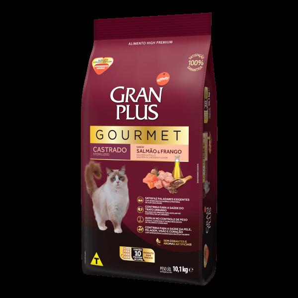 GP Gourmet Gato Adulto Castrado Sabor Salmão e Frango 10x1,01kg LATERAL
