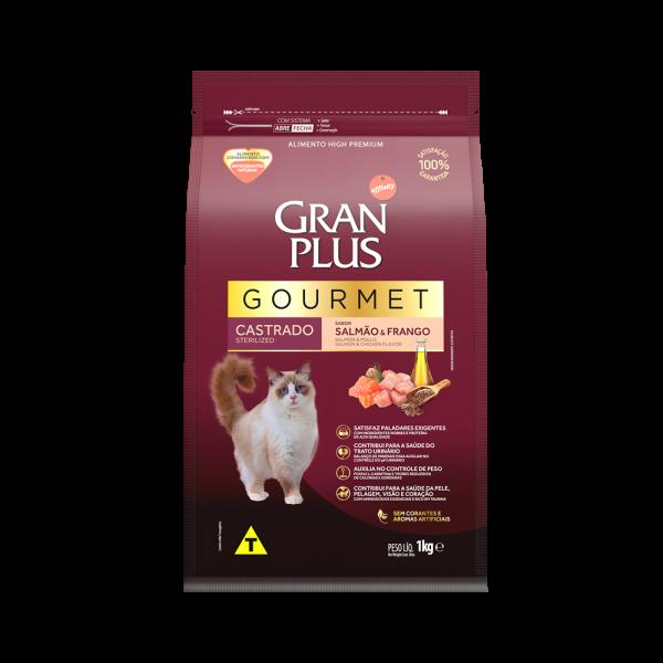 GP Gourmet Gato Adulto Castrado Sabor Salmão e Frango 1kg FRONTAL