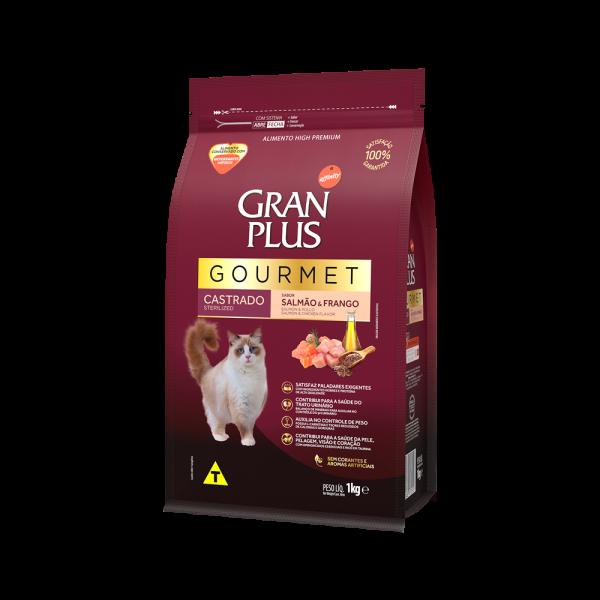 GP Gourmet Gato Adulto Castrado Sabor Salmão e Frango 1kg LATERAL