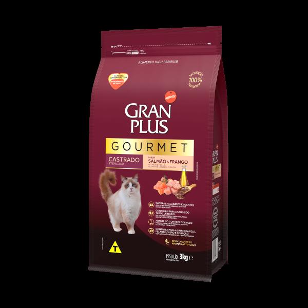 GP Gourmet Gato Adulto Castrado Sabor Salmão e Frango 3kg LATERAL