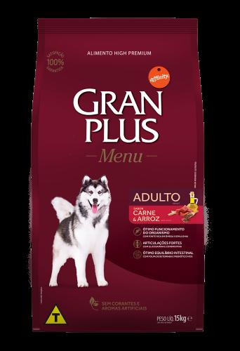 GP Menu Cão Adulto Médio e Grande Sabor Carne e Arroz 15kg FRONTAL
