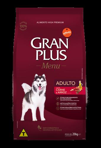 GP Menu Cão Adulto Médio e Grande Sabor Carne e Arroz 20kg FRONTAL