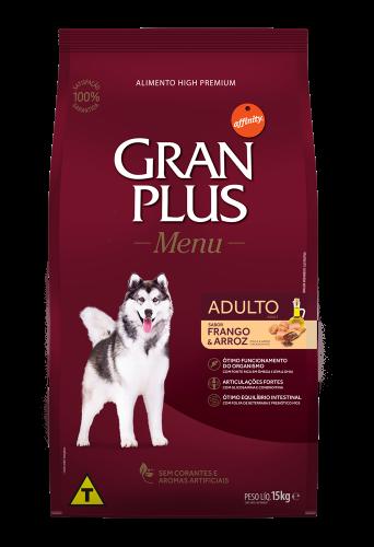 GP Menu Cão Adulto Médio e Grande Sabor Frango e Arroz 15kg FRONTAL