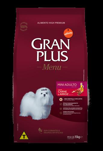 GP Menu Cão Adulto Mini e Pequeno Sabor Carne e Arroz 15kg FRONTAL