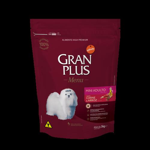 GP Menu Cão Adulto Mini e Pequeno Sabor Carne e Arroz 3kg FRONTAL