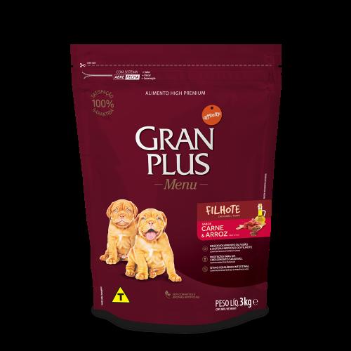 GP Menu Cão Filhote Médio e Grande Sabor Carne e Arroz 3kg FRONTAL